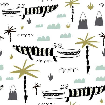 Modèle enfantin sans couture avec alligators mignons dessinés à la main. Texture créative pour enfants pour tissu, emballage, textile, papier peint, vêtements. Illustration vectorielle
