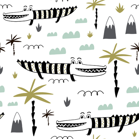 Seamless childish pattern with hand drawn cute alligators. Creative kids texture for fabric, wrapping, textile, wallpaper, apparel. Vector illustration