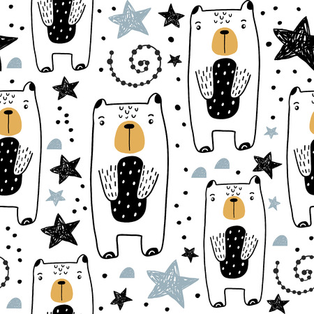Seamless childish pattern with hand drawn cute bears and stars. Creative kids texture for fabric, wrapping, textile, wallpaper, apparel. Vector illustration Ilustração