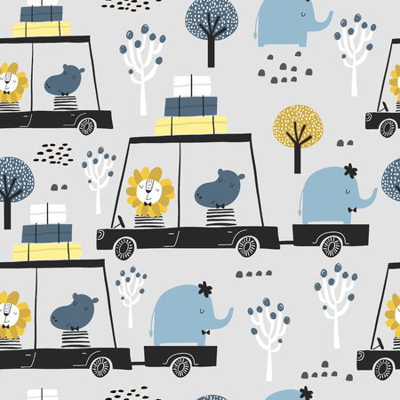 Seamless childish pattern with cute friends, lion, hippo, elephant in the car. Creative kids texture for fabric, wrapping, textile, wallpaper, apparel. Vector illustration Ilustração