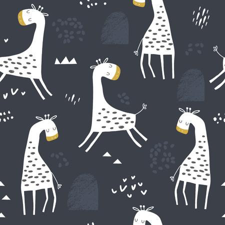 Seamless childish pattern with cute giraffe and hand drawn shapes. Creative kids texture for fabric, wrapping, textile, wallpaper, apparel. Vector illustration