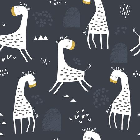 Motif enfantin sans couture avec girafe mignonne et formes dessinées à la main. Texture créative pour enfants pour tissu, emballage, textile, papier peint, vêtements. Illustration vectorielle