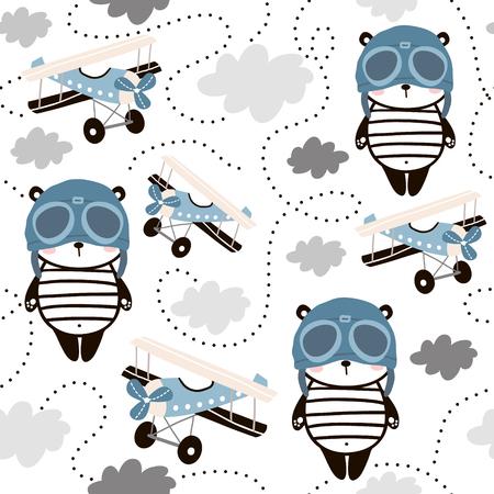 Modèle sans couture avec panda mignon en casquette pilote et avions rétro. Texture enfantine créative pour le tissu, l'emballage, le textile, le papier peint, les vêtements. Illustration vectorielle.