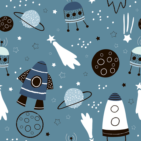 Childish seamless pattern with hand drawn space elements space, rocket, star, planet, space probe. Trendy kids vector background. Illustration
