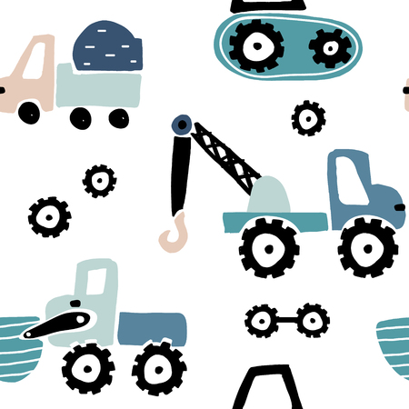 Modello infantile senza soluzione di continuità con le auto disegnate a mano. Trama di bambini creativi per tessuto, avvolgimento, tessuto, carta da parati, abbigliamento. Illustrazione vettoriale Vettoriali