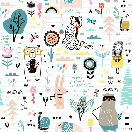 Seamless childish pattern with fairy flowers, bear,bunny, leopard, hedgehog.. Creative kids city texture for fabric, wrapping, textile, wallpaper, apparel. Vector illustration Archivio Fotografico - 99262954