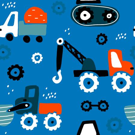 Naadloos kinderachtig patroon met hand getrokken auto's. Creatieve kindertextuur voor stof, verpakking, textiel, behang, kleding. Vector illustratie Stockfoto - 98945193