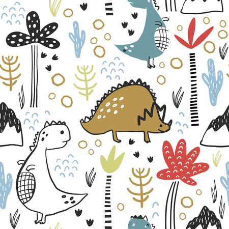 Childish seamless pattern with hand drawn dino, palm trees and dhand drawn shapes in scandinavian style. Creative vector childish background for fabric, textile Illustration