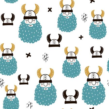 Infantil de patrones sin fisuras con vikingos. Fondo de vector escandinavo de moda. Perfecto para ropa de niños, telas, textiles, decoración infantil, papel de regalo.