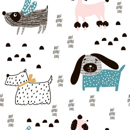 Modèle sans couture avec des chiens mignons et des éléments dessinés à la main. Texture enfantine créative. Idéal pour le tissu, le textile Vector Illustration Vecteurs