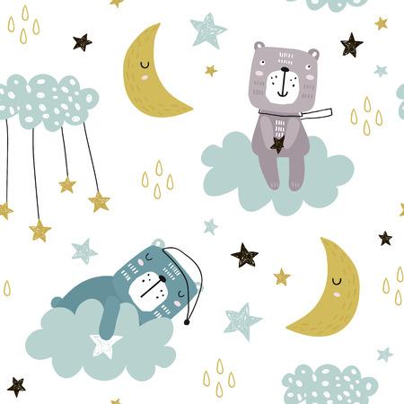 雲、月、星にかわいいクマとシームレスな子供っぽいパターン。ファブリック、ラッピング、織物、壁紙、アパレルのための創造的なスカンジナビ  イラスト・ベクター素材