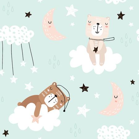 Motif enfantin sans couture avec des ours mignons sur les nuages, la lune, les étoiles. Texture créative pour enfants de style scandinave pour tissu, emballage, textile, papier peint, vêtements. Illustration vectorielle