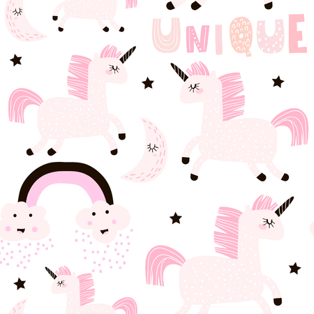 Seamless childish pattern with cute fairy unicorn. Creative pink white kids texture for fabric, wrapping, textile, wallpaper, apparel. Vector illustration 일러스트