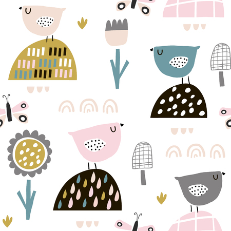 Seamless childish pattern with fairy flowers, birds, butterflies. Creative kids texture for fabric, wrapping, textile, wallpaper, apparel. Vector illustration Archivio Fotografico - 99262961