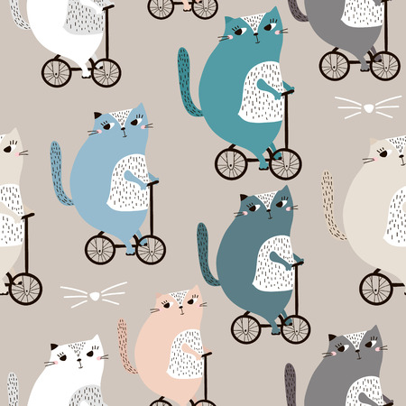 Seamless pattern with cute cats bycycling. Creative childish texture. Great for fabric, textile Vector Illustration