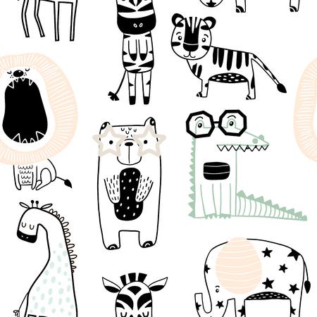 Sin fisuras patrón infantil con animales lindos en estilo blanco y negro. Textura creativa de niños escandinavos para tela, envoltura, textil, papel tapiz, ropa. Ilustración vectorial Ilustración de vector