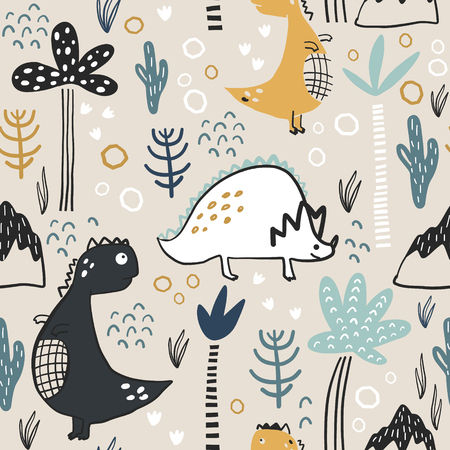 Childish seamless pattern with hand drawn dino, palm trees and dhand drawn shapes in scandinavian style. Creative vector childish background for fabric, textile Ilustração