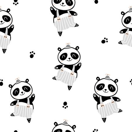 Seamless childish pattern with cute panda boy in black and white style. Creative scandinavian kids texture for fabric, wrapping, textile, wallpaper, apparel. Vector illustration