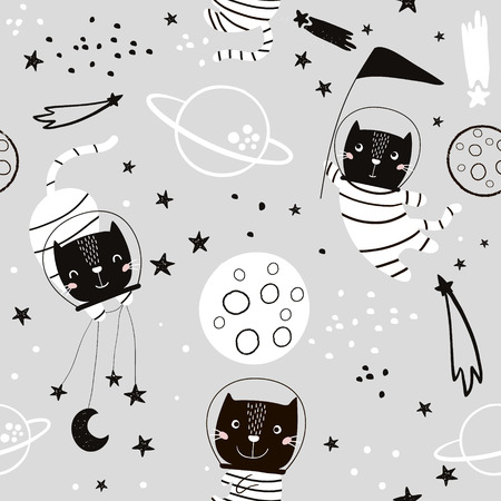 Seamless childish pattern with cat astonauts in the spase. Trendy black and white style. Creative scandinavian kids texture for fabric, wrapping, textile, wallpaper, apparel. Vector illustration