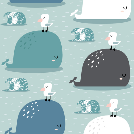 Seamless pattern with whale and gull. Childish texture for fabric, textile,apparel. Vector background 일러스트