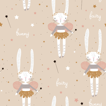 Seamless pattern with cute bunny ballerina with wings, stars, magic wand . Creative childish background. Perfect for kids apparel,fabric, textile, nursery decoration,wrapping paper.Vector Illustration