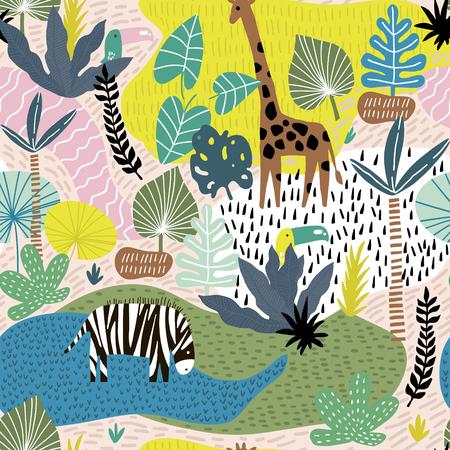 Patrón sin fisuras con jirafa, cebra, tucán y paisaje tropical. Textura infantil de selva creativa. Ideal para tela, textil, ilustración vectorial