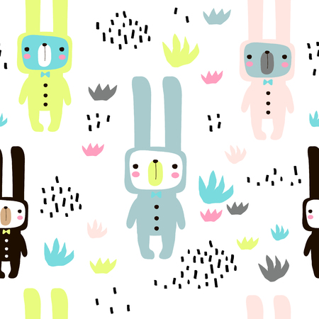 Seamless childish pattern with cute rabbits in rompers. Creative kids texture for fabric, wrapping, textile, wallpaper, apparel. Vector illustration