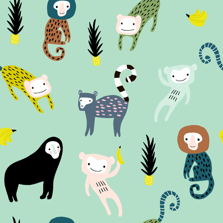 Seamless pattern with giraffe, leopard,tucan, monkey and tropical elemnts. Creative jungle childish texture. Great for fabric, textile Vector Illustration Banque d'images - 102852369