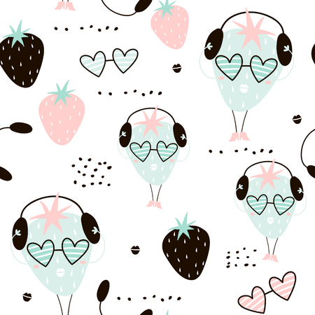 Seamless pattern with creative strawberry charachters. Hand drawn fruits trendy background. Great for fabric and textile. Vector Illustration