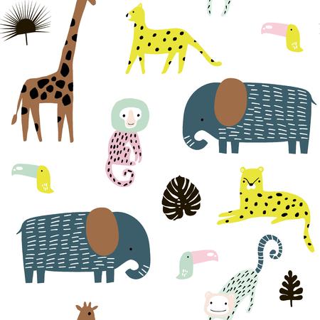 Nahtloses Muster mit Giraffen-, Leoparden-, Tucan-, Elepahant-, Affen- und tropischen Elementen. Kreative kindliche Textur des Dschungels. Ideal für Stoff, Textil Vektor-Illustration Vektorgrafik