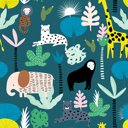 Seamless pattern with giraffe, leopard,tucan, elephant and tropical flora. Creative jungle childish texture. Great for fabric, textile Vector Illustration Illustration