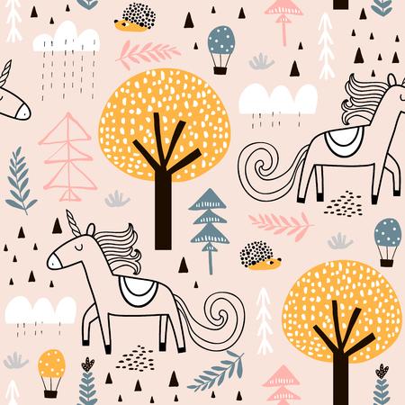 Patrón infantil sin fisuras con unicornio de hadas, erizo en la madera. Textura creativa de la ciudad de los niños para tela, envoltura, textil, papel tapiz, ropa. Ilustración vectorial