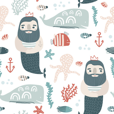 Seamless childish pattern ocean king and undersee elements . Creative scandinavian kids texture for fabric, wrapping, textile, wallpaper, apparel. Vector illustration Vettoriali