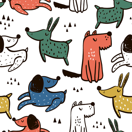 Childish seamless pattern with hand drawn dogs. Trendy scandinavian vector background. Perfect for kids apparel,fabric, textile, nursery decoration,wrapping paper Archivio Fotografico - 102852382