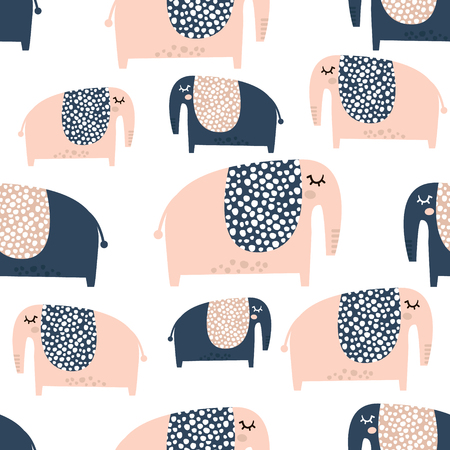 Seamless pattern with cute baby elephant. Creative childish texture. Great for fabric, textile Vector Illustration