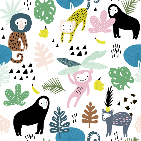 Seamless pattern with lemur, orangutan, monkey and tropical elements. Creative jungle childish texture. Great for fabric, textile Vector Illustration