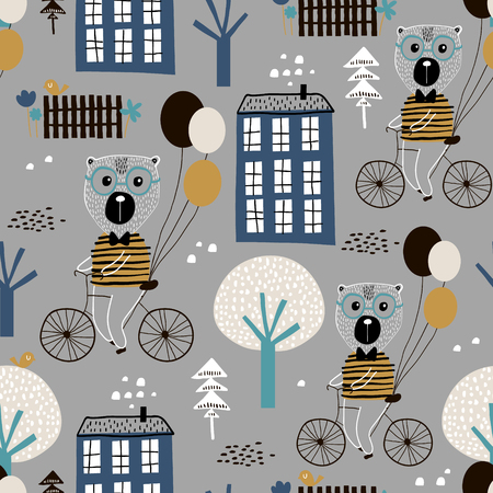 Seamless childish pattern with cute bears bicycling in the city. Creative kids texture for fabric, wrapping, textile, wallpaper, apparel. Vector illustration Illustration