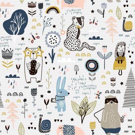 Seamless childish pattern with fairy flowers, bear,bunny, leopard, hedgehog.. Creative kids city texture for fabric, wrapping, textile, wallpaper, apparel. Vector illustration Archivio Fotografico - 102852420