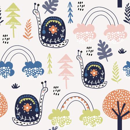 Nahtloses kindliches Muster mit Schnecken und Regenbogen. Kreative Kinderstadtstruktur für Stoff, Verpackung, Textil, Tapete, Bekleidung. Vektorillustration