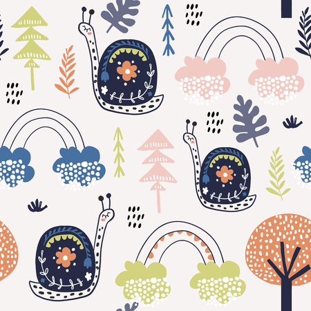 Seamless childish pattern with snails, and rainbows. Creative kids city texture for fabric, wrapping, textile, wallpaper, apparel. Vector illustration