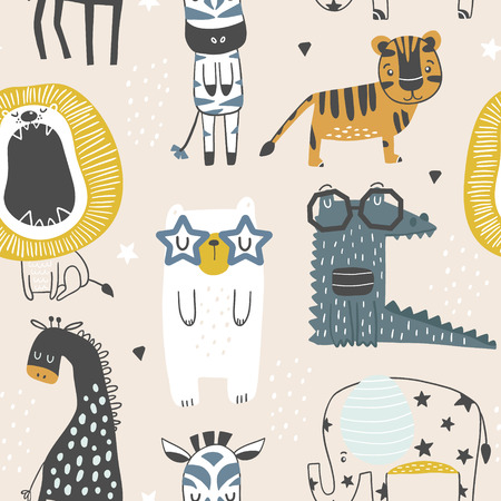 Seamless childish pattern with cute animals in black and white style. Creative scandinavian kids texture for fabric, wrapping, textile, wallpaper, apparel. Vector illustration 版權商用圖片 - 104442481