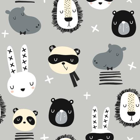 Motif enfantin sans couture avec des animaux monochromes élégants. Texture créative d'enfants scandinaves pour tissu, emballage, textile, papier peint, vêtements. Illustration vectorielle