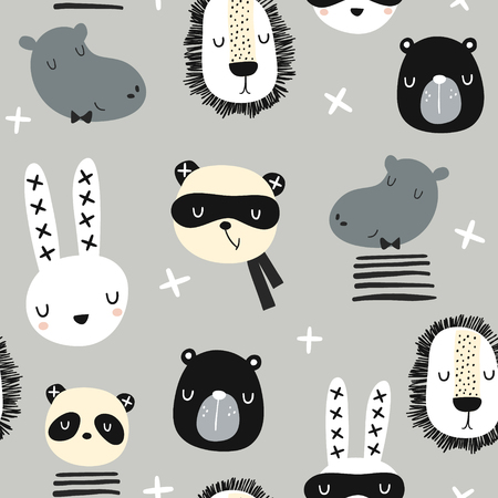 Seamless childish pattern with stylish monochrome animals . Creative scandinavian kids texture for fabric, wrapping, textile, wallpaper, apparel. Vector illustration Banco de Imagens - 104442482