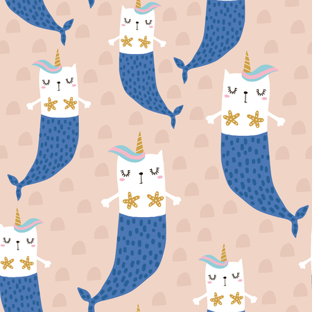 Magic cat mermaid with horn. Seamless childish pattern for apparel, fabric, textile.Vector illustration