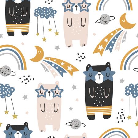 Modello infantile senza cuciture con simpatici orsi, arcobaleno, stelle, luna. Trama creativa per bambini scandinavi per tessuti, confezioni, tessuti, carta da parati, abbigliamento. Illustrazione vettoriale