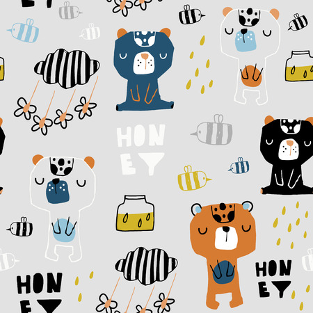 Seamless childish pattern with cute bears, honey, bee. Creative scandinavian style kids texture for fabric, wrapping, textile, wallpaper, apparel. Vector illustration