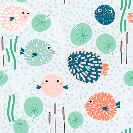 Seamless childish pattern with funny fish hedgehogs.Creative under sea summer texture for fabric, wrapping, textile, wallpaper, apparel. Vector illustration Ilustração