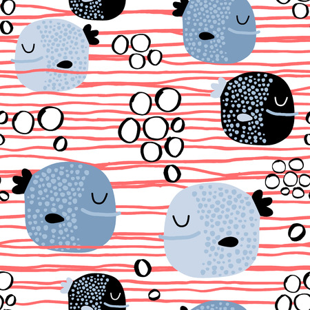 Seamless childish pattern with funny fish.Creative under sea summer texture for fabric, wrapping, textile, wallpaper, apparel. Vector illustration Ilustrace