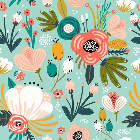 Nahtloses Muster mit Blumen, Palmzweig, Blättern. Kreative florale Textur. Ideal für Stoff, Textil-Vektor-Illustration