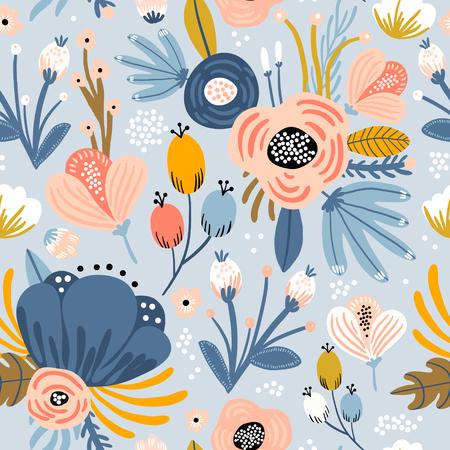 Nahtloses Muster mit Blumen, Palmzweig, Blättern. Kreative florale Textur. Ideal für Stoff, Textil-Vektor-Illustration Vektorgrafik
